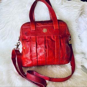 Tory Burch red leather crossbody handbag